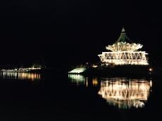New Sarawak State Legislative Assembly Building at night across Sarawak River